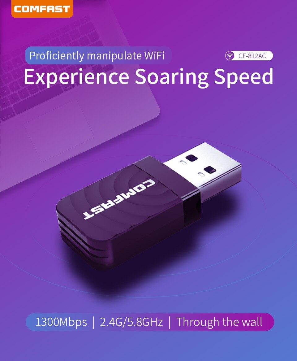 Adaptador Wi-fi Dual Band 2.4 / 5ghz 1300mbps Wireless Ac 5g
