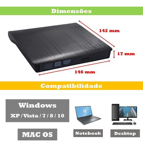Gravador e Leitor de CD/DVD Drive Externo USB 3.0 KP-LE300