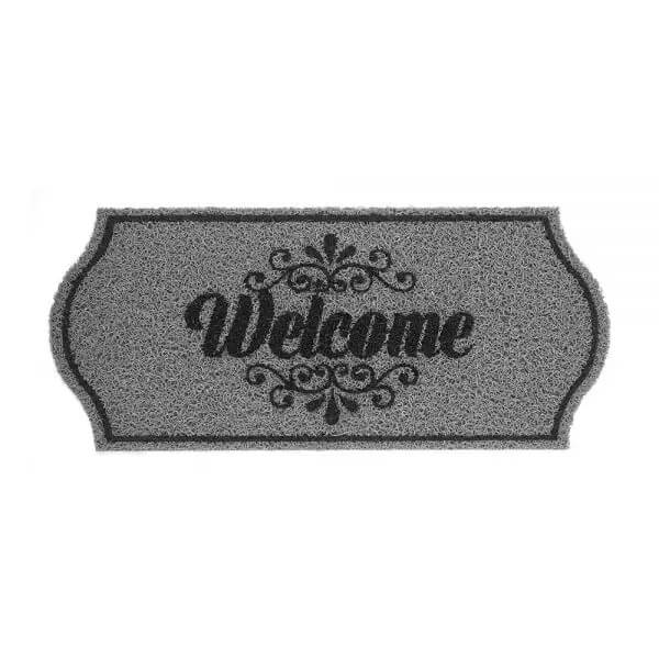 Tapete Capacho Welcome Cinza - 30x70cm