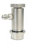 Conector ball lock líquido rosca inox 7/16 com controle de fluxo