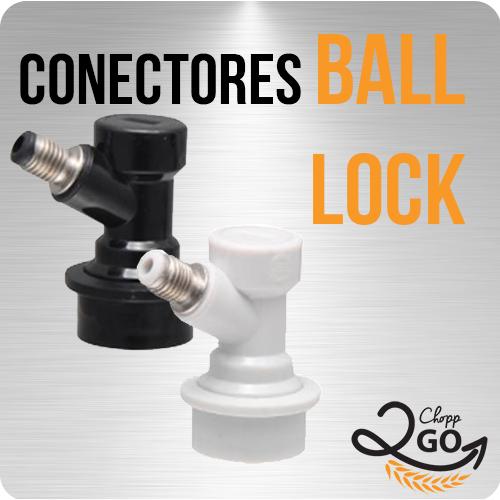 """Conector Ball Lock Líquido - Rosca 1/4"""" (Preto)"""