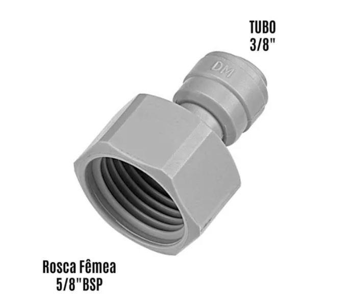 Engate Conexão Rápida Rosca - Fêmea 5/8'' BSP x Tubo 3/8''