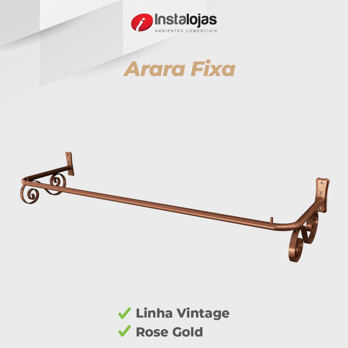 Arara Fixa de Parede 1,00mt Vintage Rosé