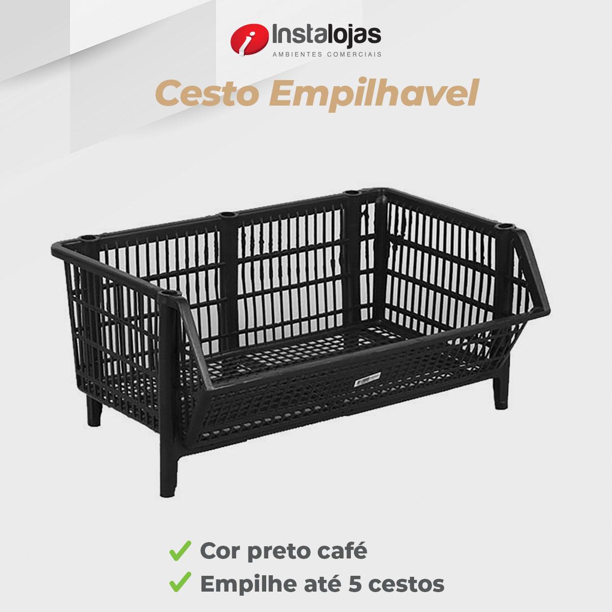 Cesto Empilhável 30x70x50cm - 3 Unidades