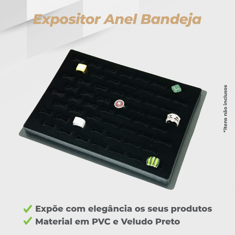 Expositor Anel Bandeja Veludo Preto