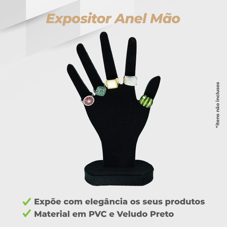 Expositor Anel Mão Veludo Preto