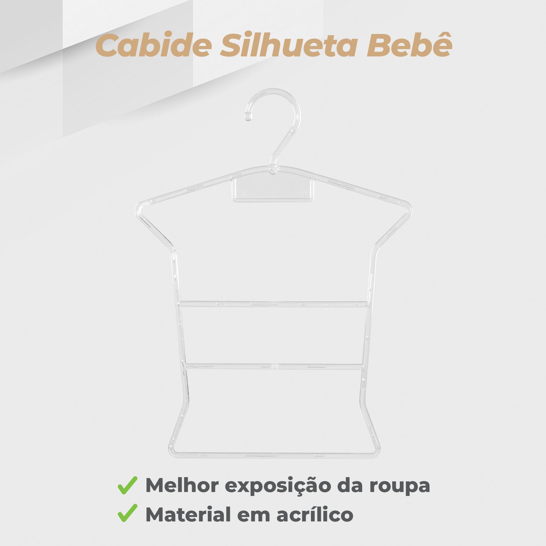 Kit 5 Cabides Silhueta Infantil + 5 Cabides Silhueta Bebê Transparente