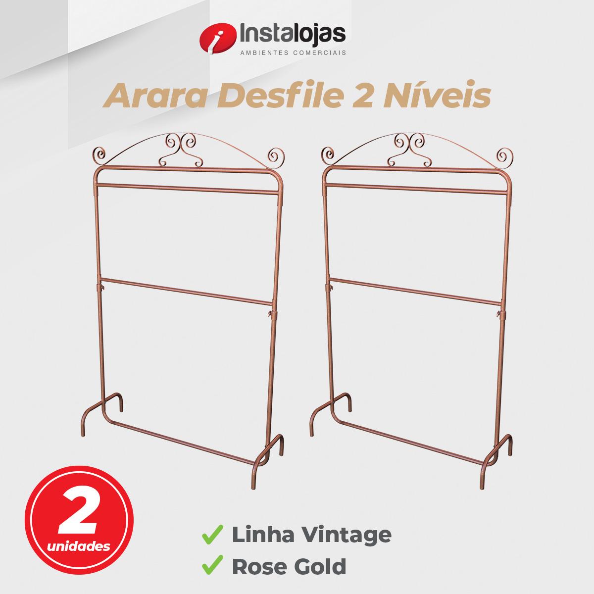 Kit Arara Desfile 2 Níveis Vintage 1,00mt Rosé Gold Regulável - 2 unidades