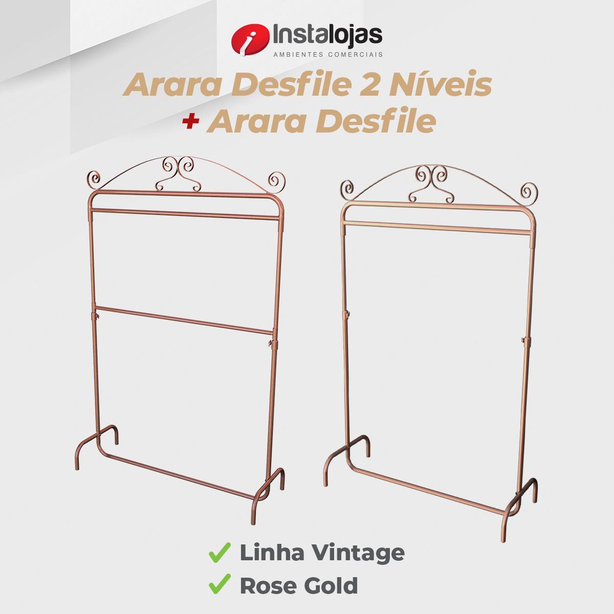 Kit Arara Desfile Vintage 1,00mt + Arara 2 Níveis Vintage 1,00mt Rosé Gold Regulável