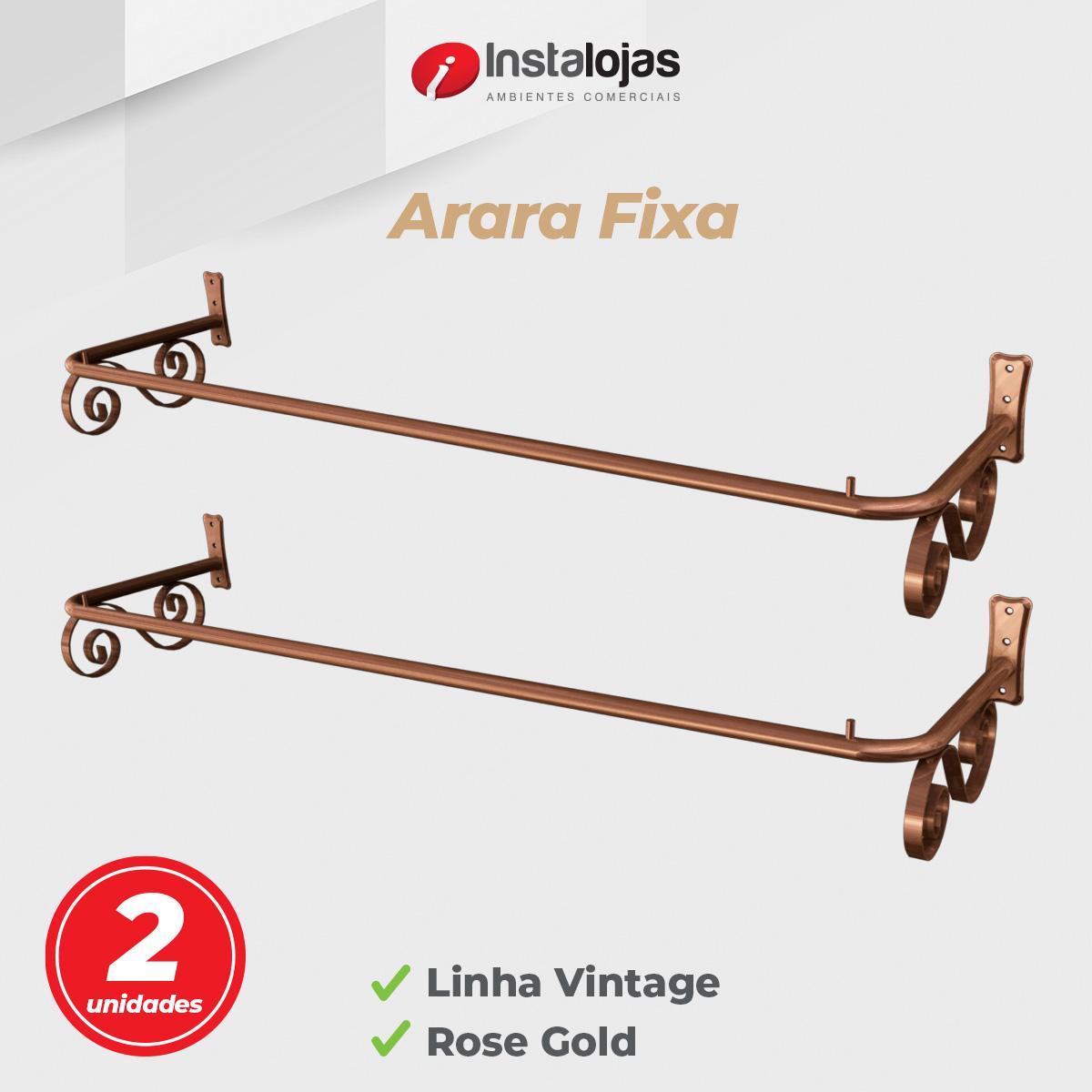 Kit Arara Fixa de Parede 1,00mt Vintage Rosé Gold - 2 Unidades
