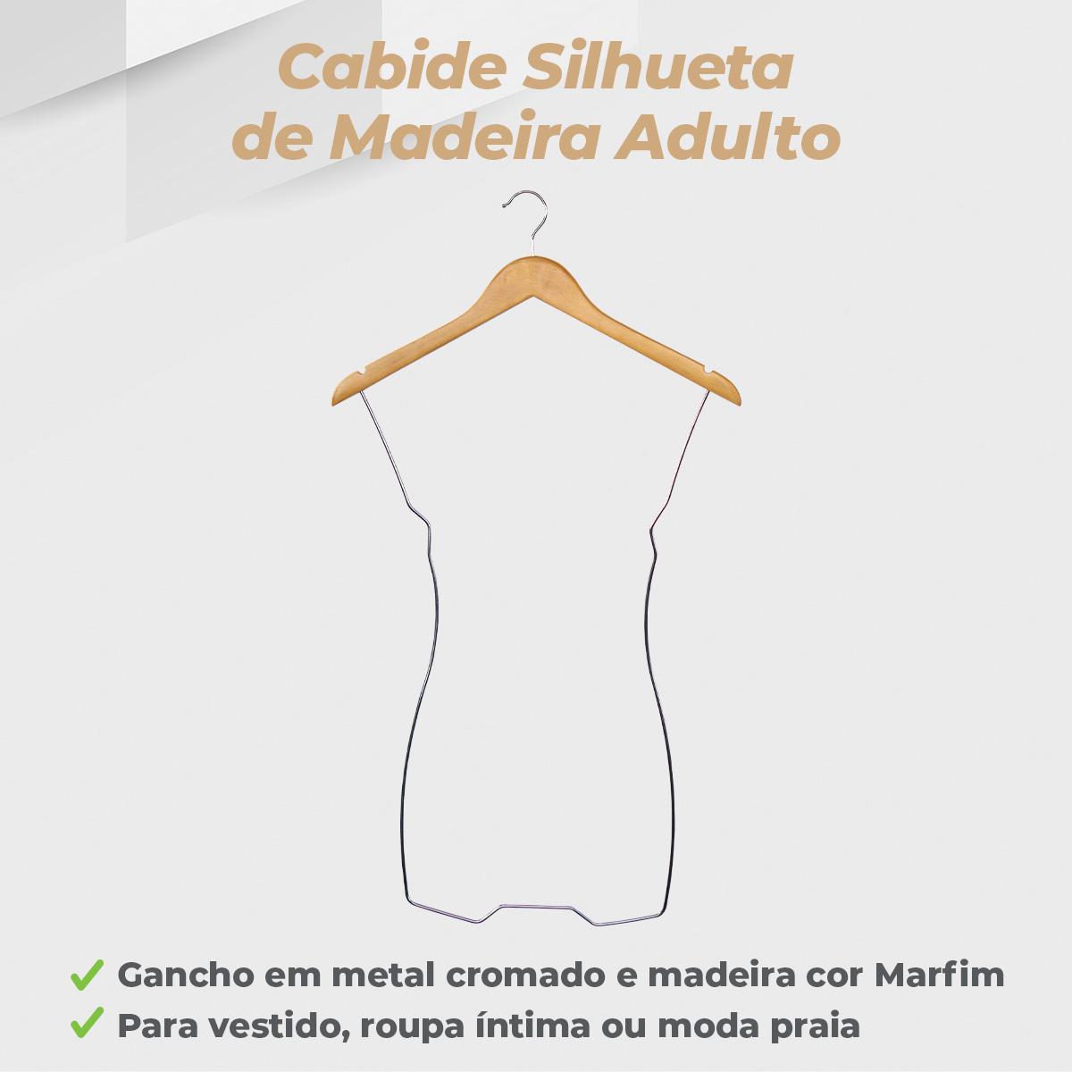 Kit Cabide Madeira Silhueta Cromado - 5 Unidades