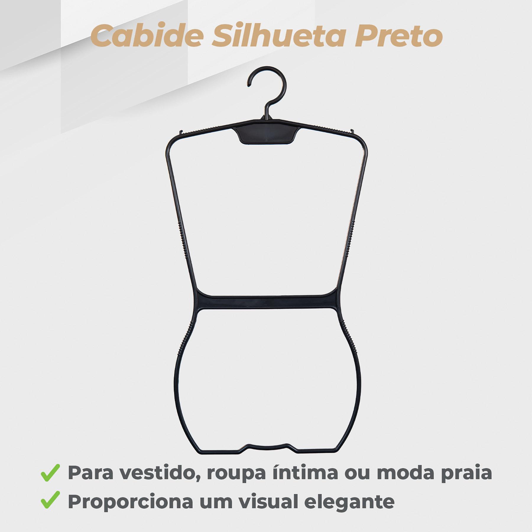 Kit Cabide Silhueta Adulto Preto - 10 Unidades