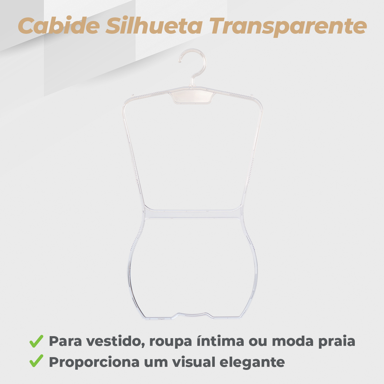 Kit Cabide Silhueta Adulto Transparente - 10 Unidades