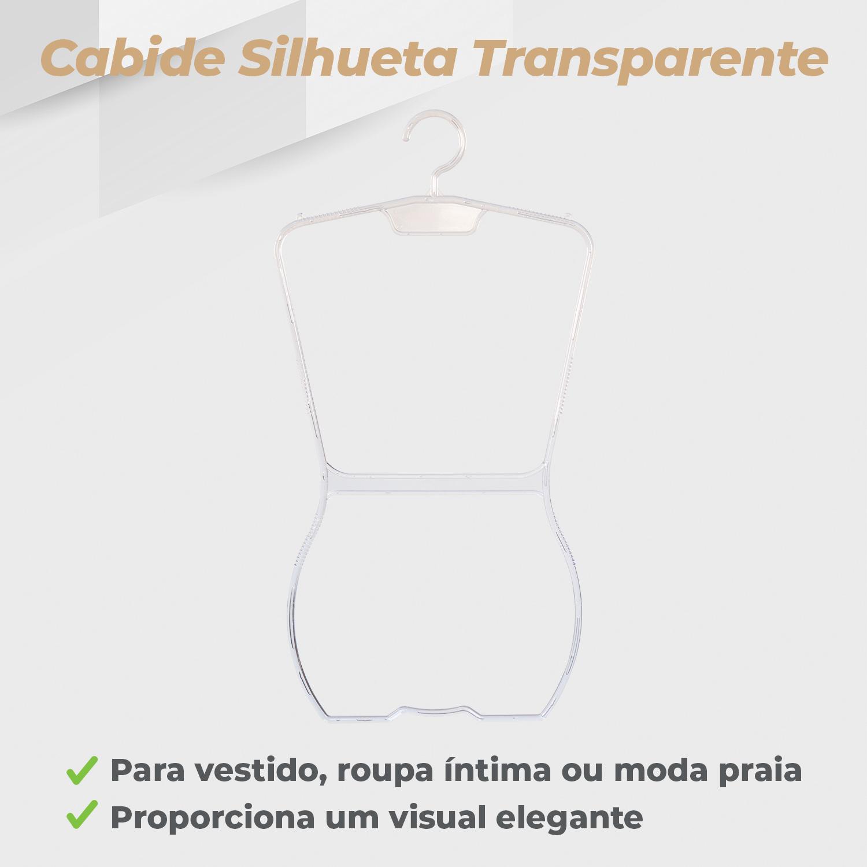 Kit Cabide Silhueta Adulto Transparente - 5 Unidades