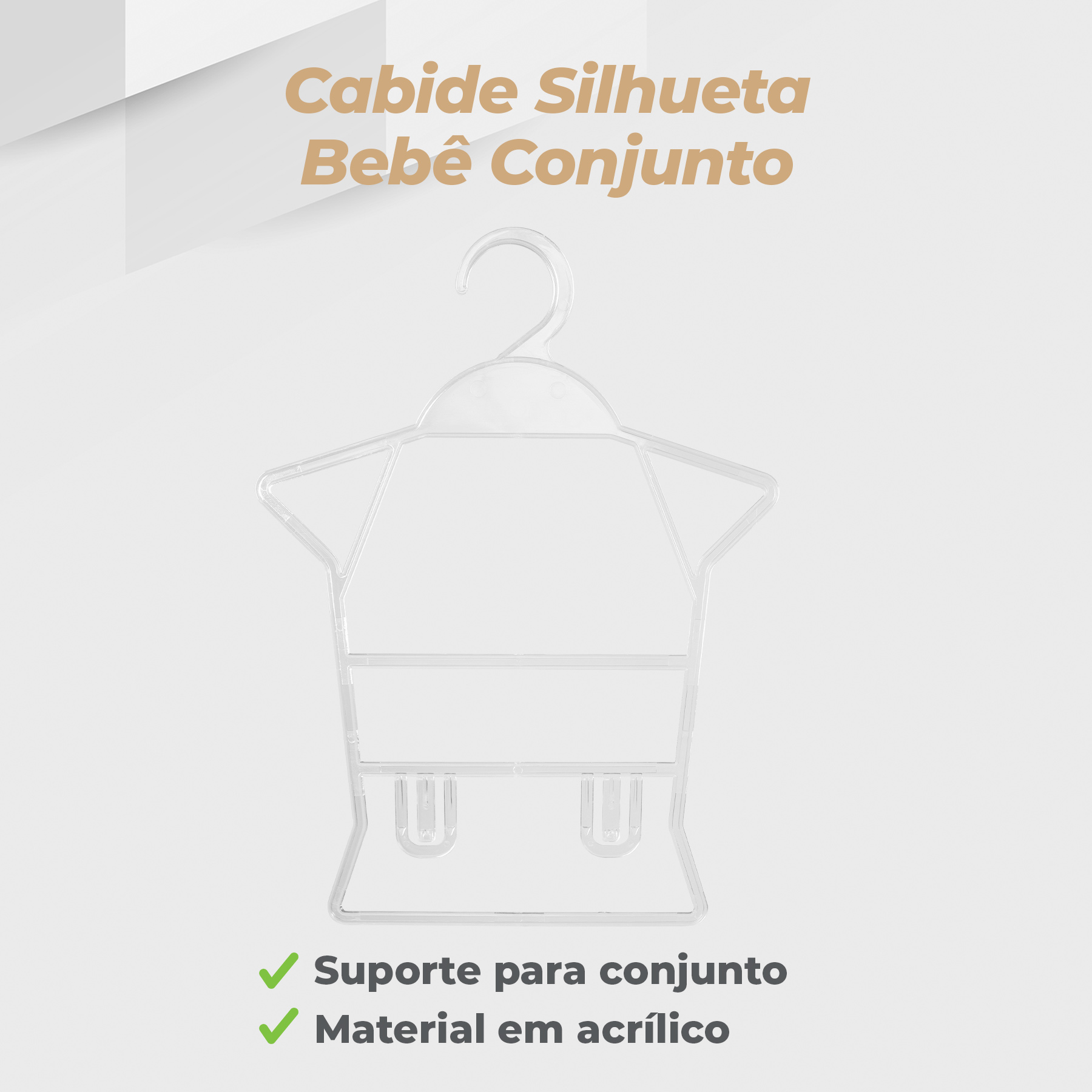 Kit Cabide Silhueta Bebê Conjunto Acrílico - 5 Unidades