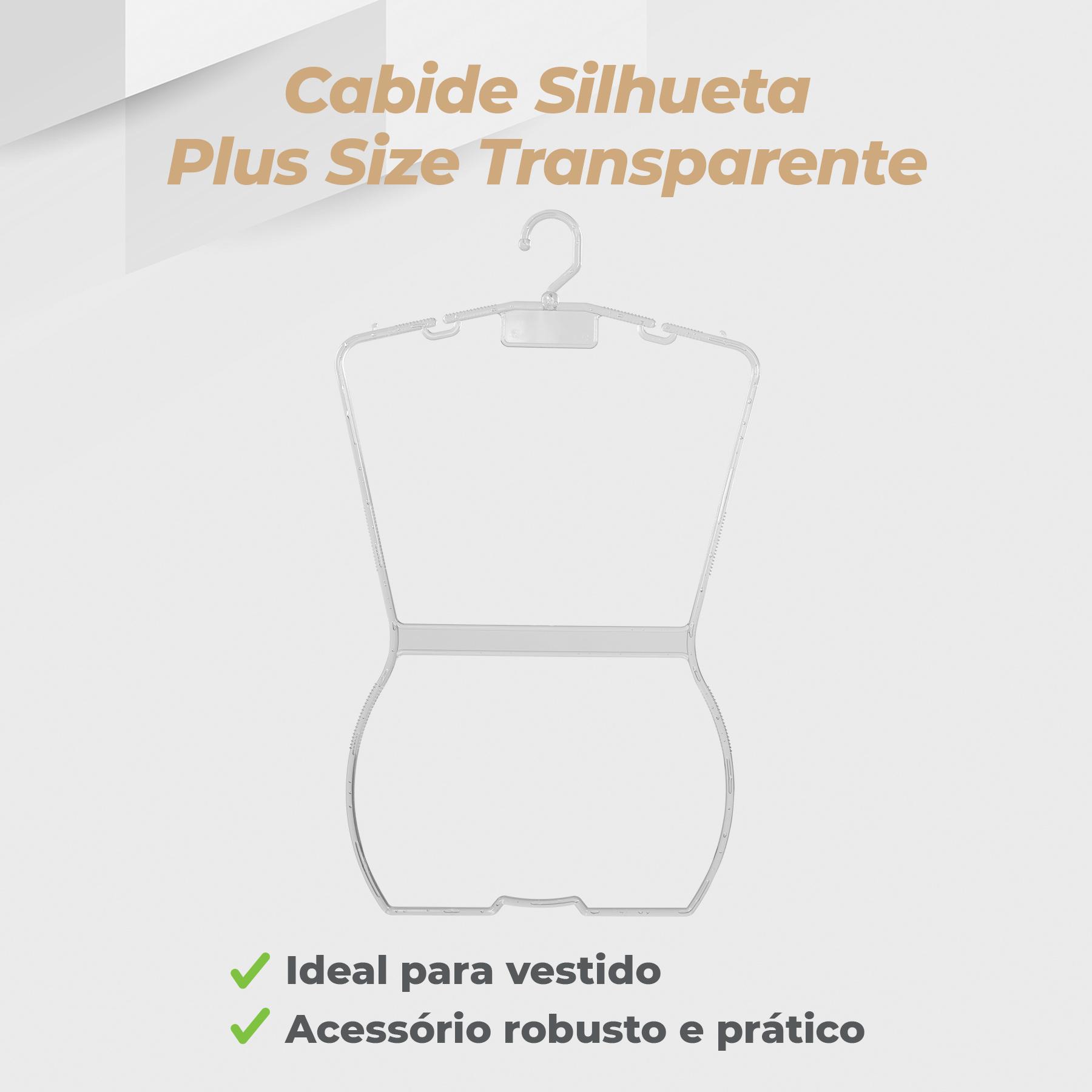 Kit Cabide Silhueta Plus Size Transparente - 10 Unidades