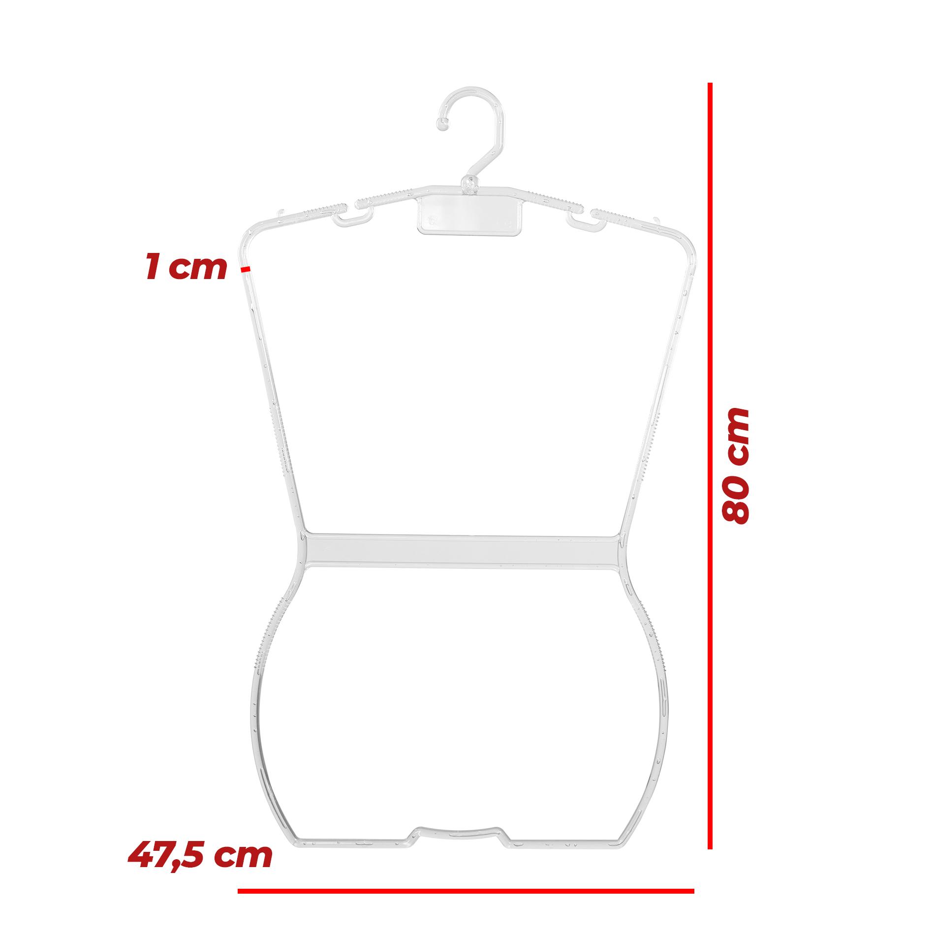 Kit Cabide Silhueta Plus Size Transparente - 5 Unidades