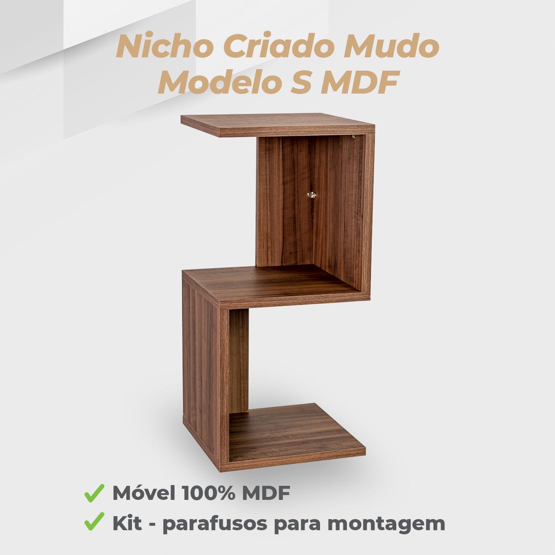 Kit Nicho Criado Mudo Modelo S MDF Ameixa Negra - 2 Unidades