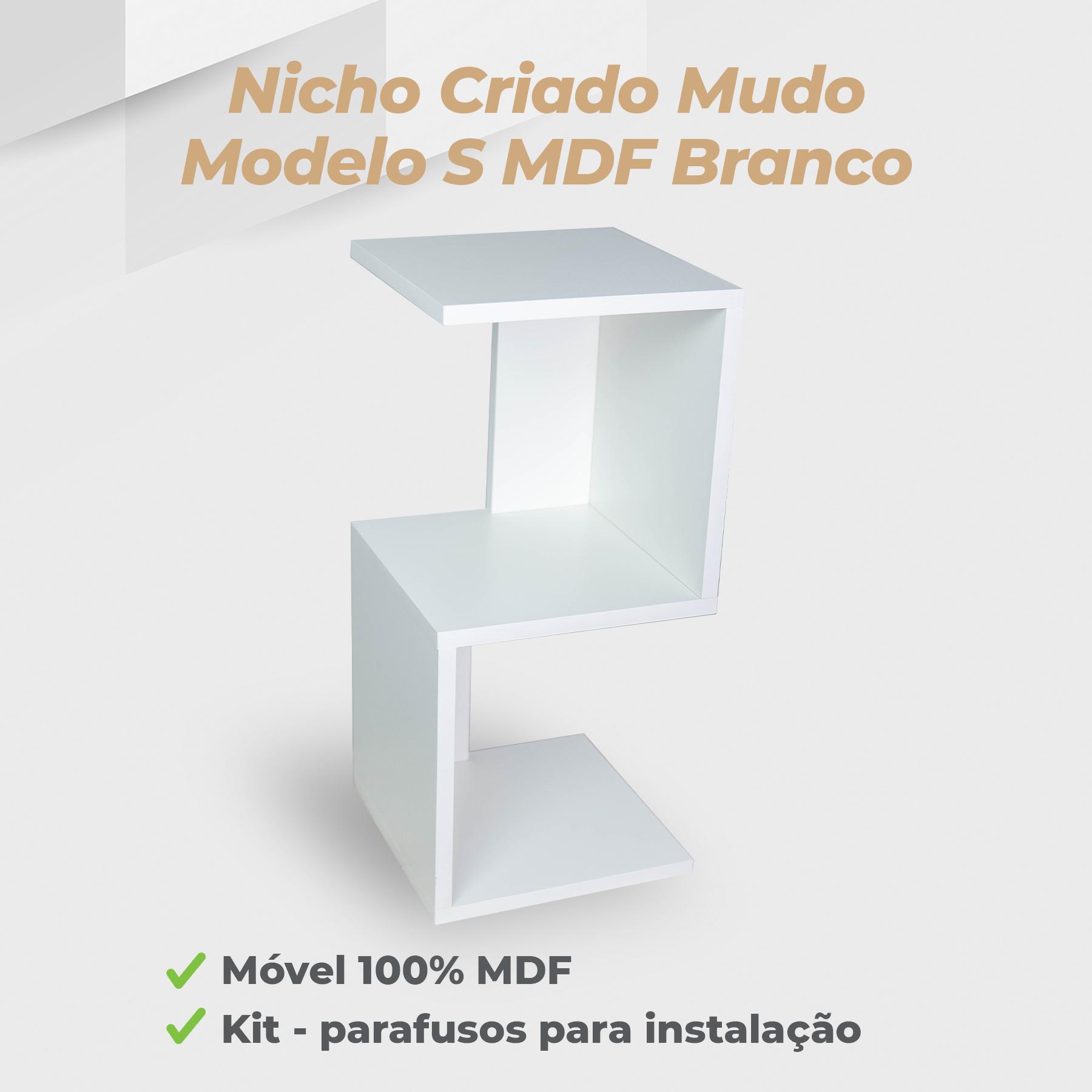 Kit Nicho Criado Mudo Modelo S MDF Branco - 2 Unidades