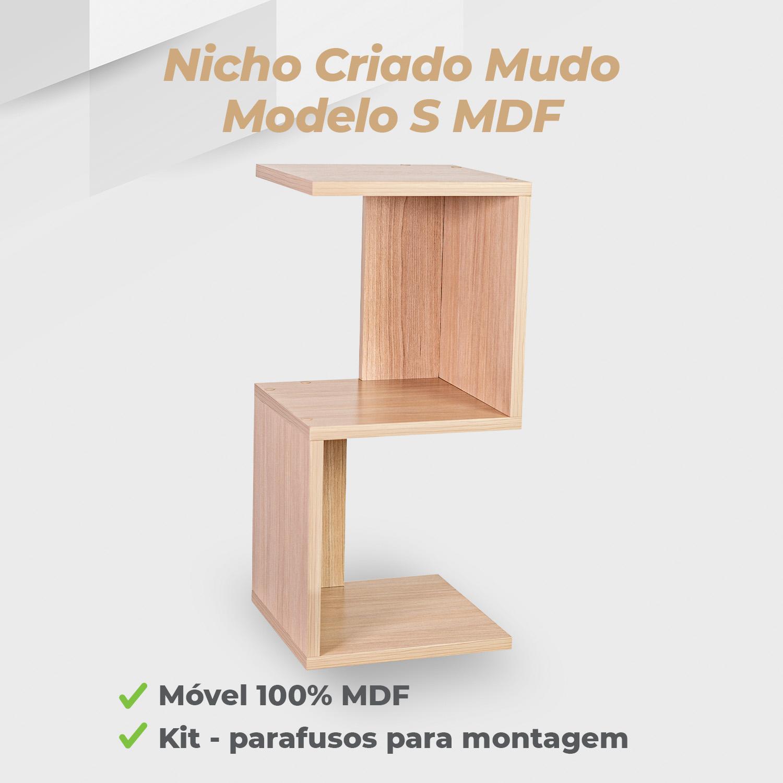 Kit Nicho Criado Mudo Modelo S MDF Ciliegio - 2 Unidades
