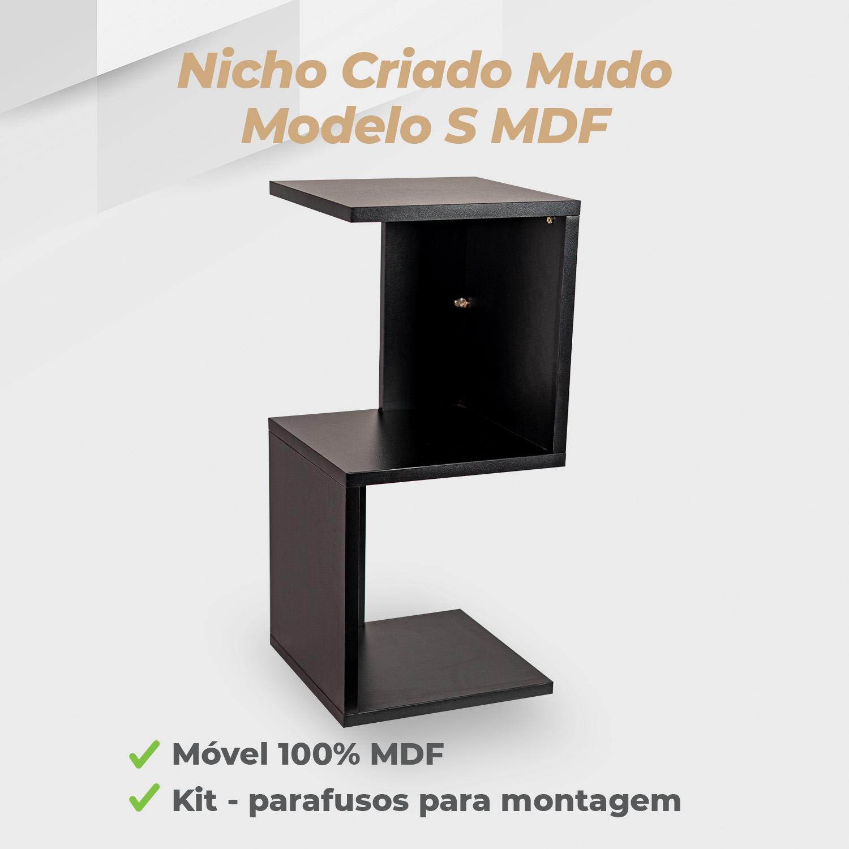 Kit Nicho Criado Mudo Modelo S MDF Preto - 2 Unidades