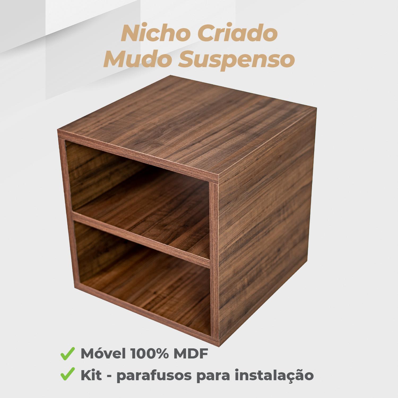 Kit Nicho Criado Mudo Suspenso 30x30x30cm MDF Ameixa Negra - 2 Unidades