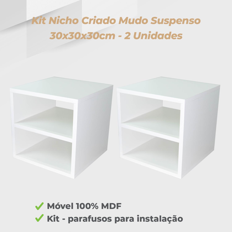 Kit Nicho Criado Mudo Suspenso 30x30x30cm MDF Branco - 2 Unidades