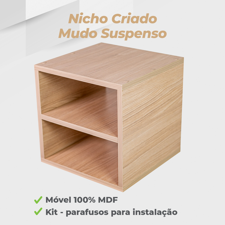 Kit Nicho Criado Mudo Suspenso 30x30x30cm MDF Ciliegio - 2 Unidades