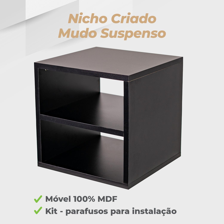 Kit Nicho Criado Mudo Suspenso 30x30x30cm MDF Preto - 2 Unidades