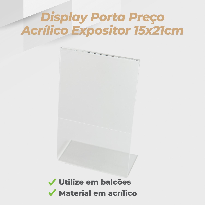 Kit Porta Preço Transparente 21x15cm - 10 Unidades