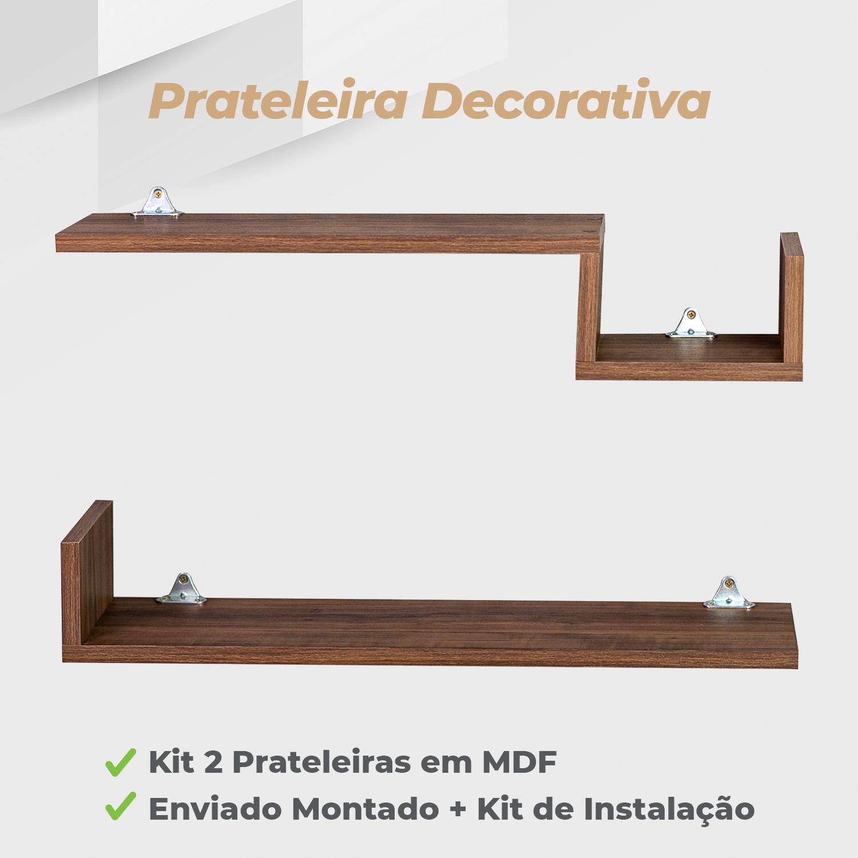 Kit Prateleira Decorativa 15x60cm MDF Ameixa Negra - 2 Unidades