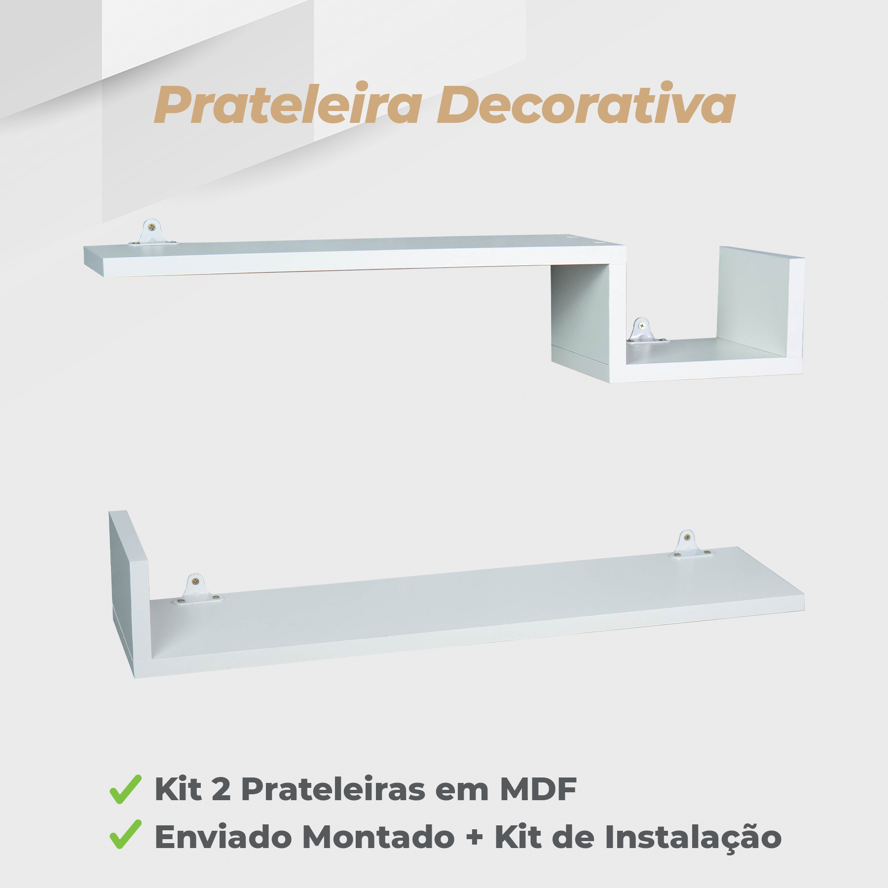 Kit Prateleira Decorativa 15x60cm MDF Branco - 2 Unidades