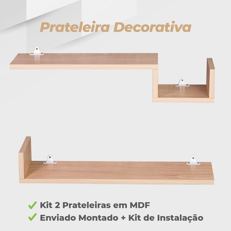 Kit Prateleira Decorativa 15x60cm MDF Ciliegio - 2 Unidades