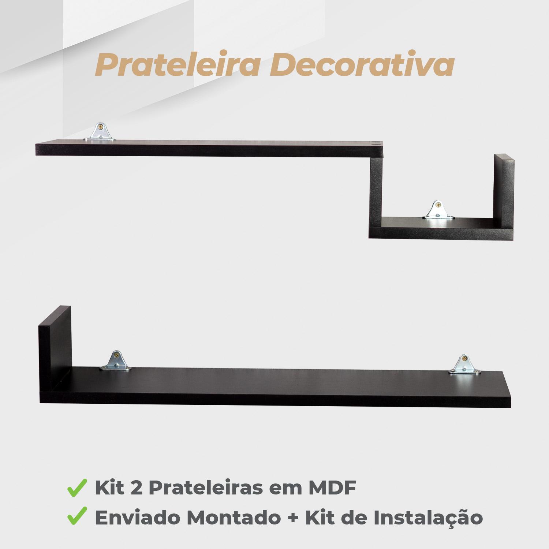 Kit Prateleira Decorativa 15x60cm MDF Preto - 2 Unidades