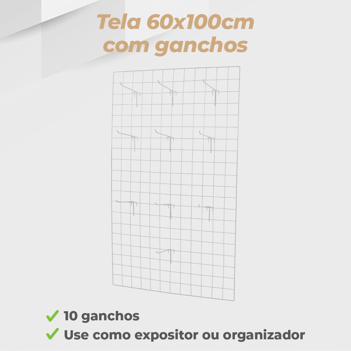 Kit Tela 60x100cm + 10 Ganchos 20cm
