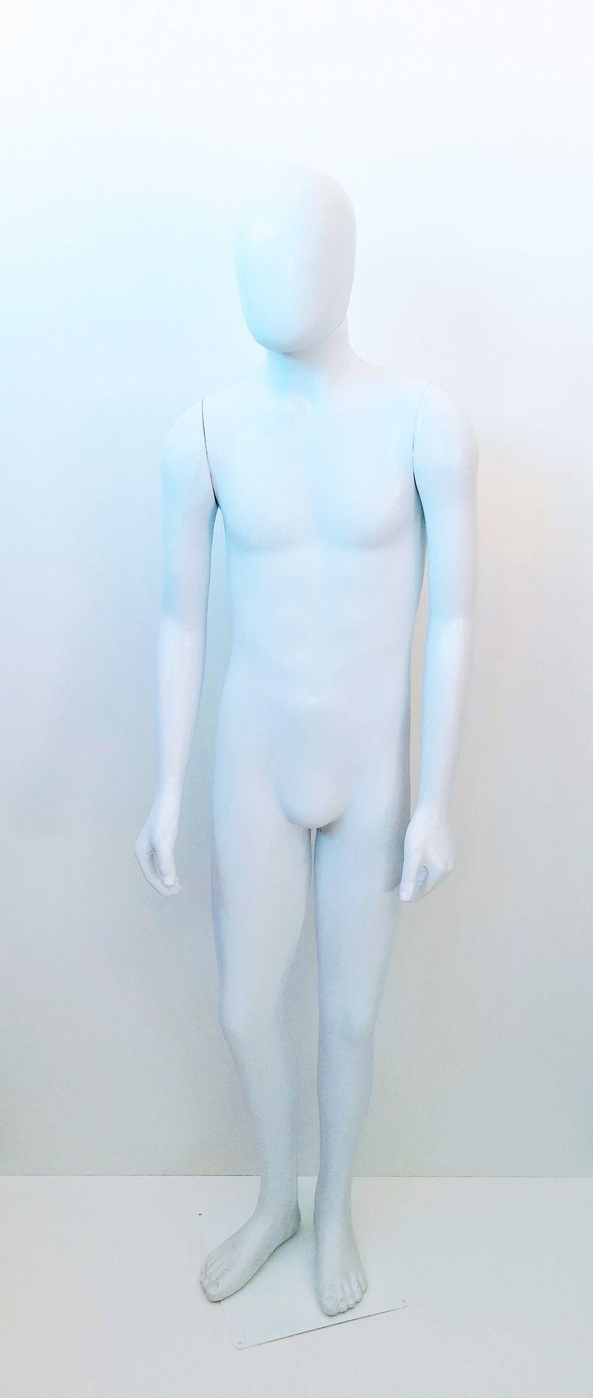Manequim Adolescente Masculino Ovo Branco com Base