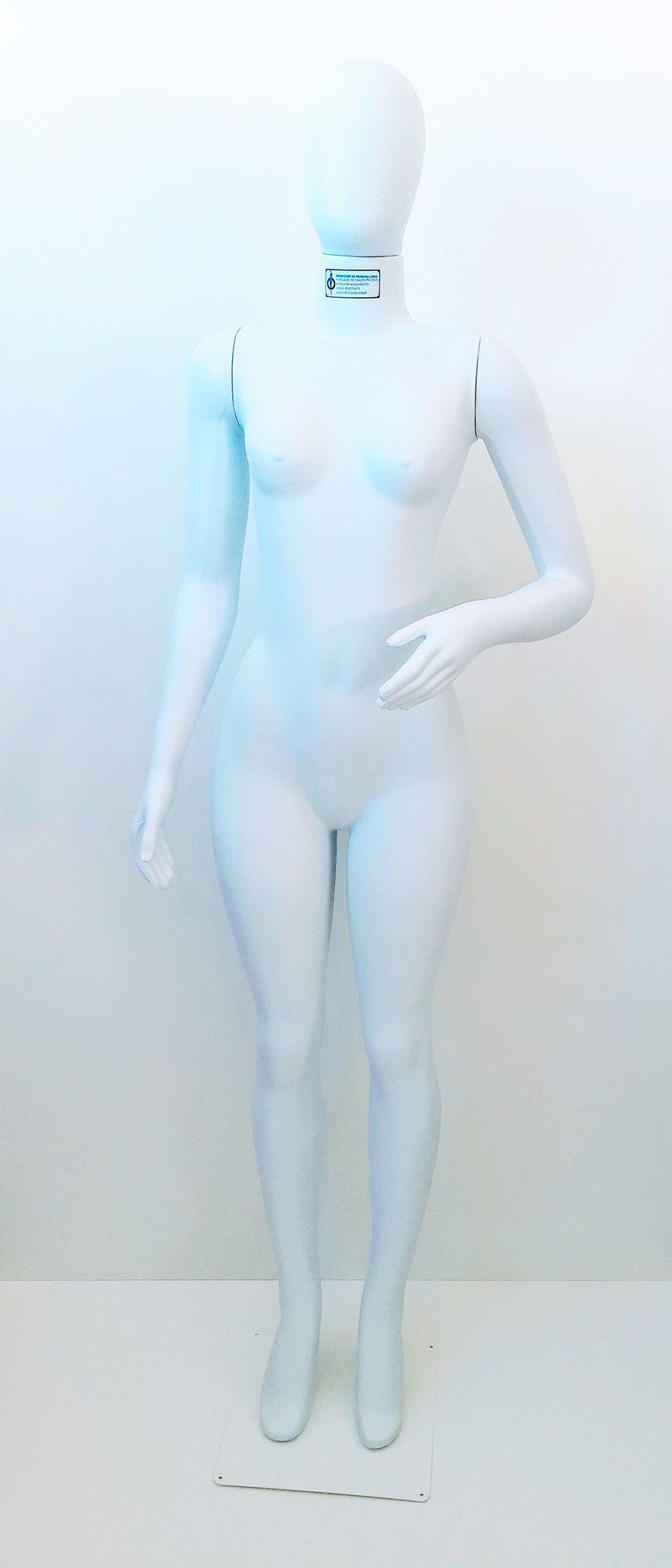 Manequim Feminino Corpo Inteiro Articulado Cabeça Ovo Branco com Base