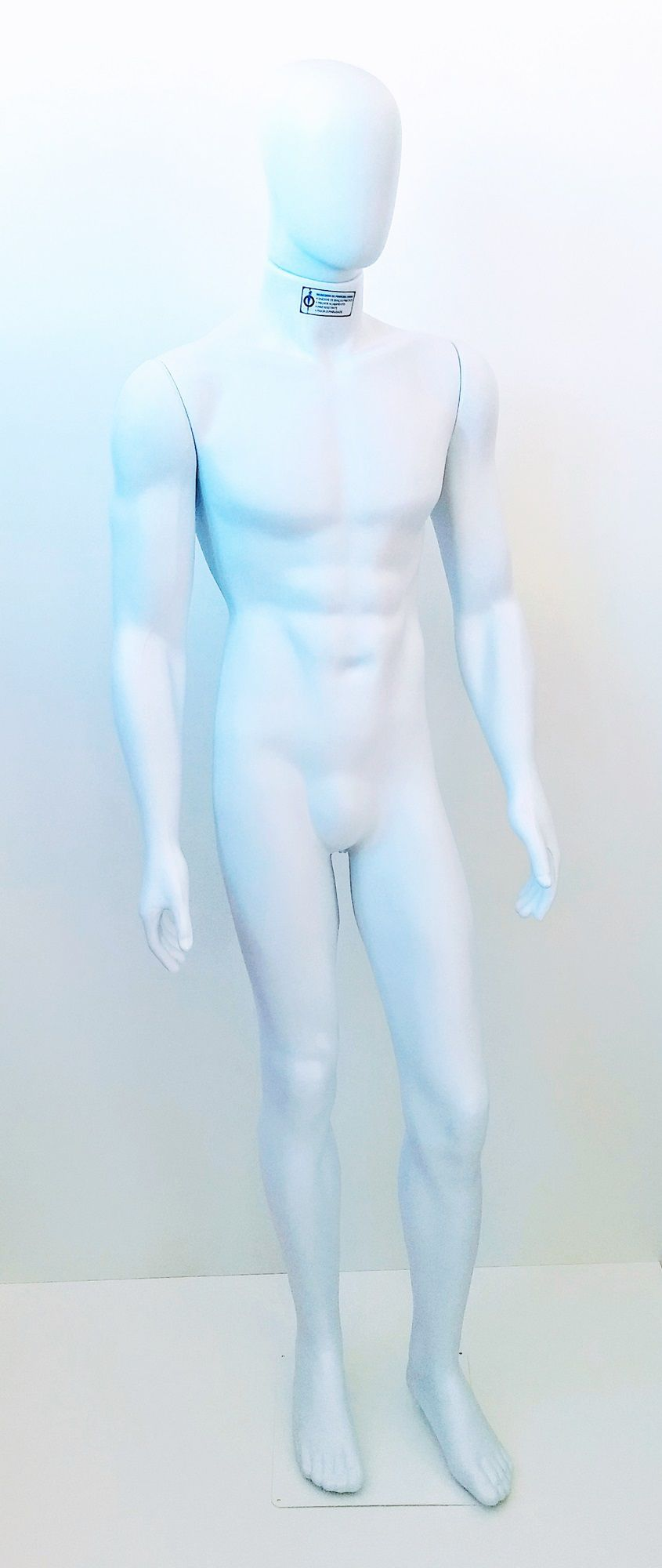 Manequim Masculino Bombado Ovo Branco com Base