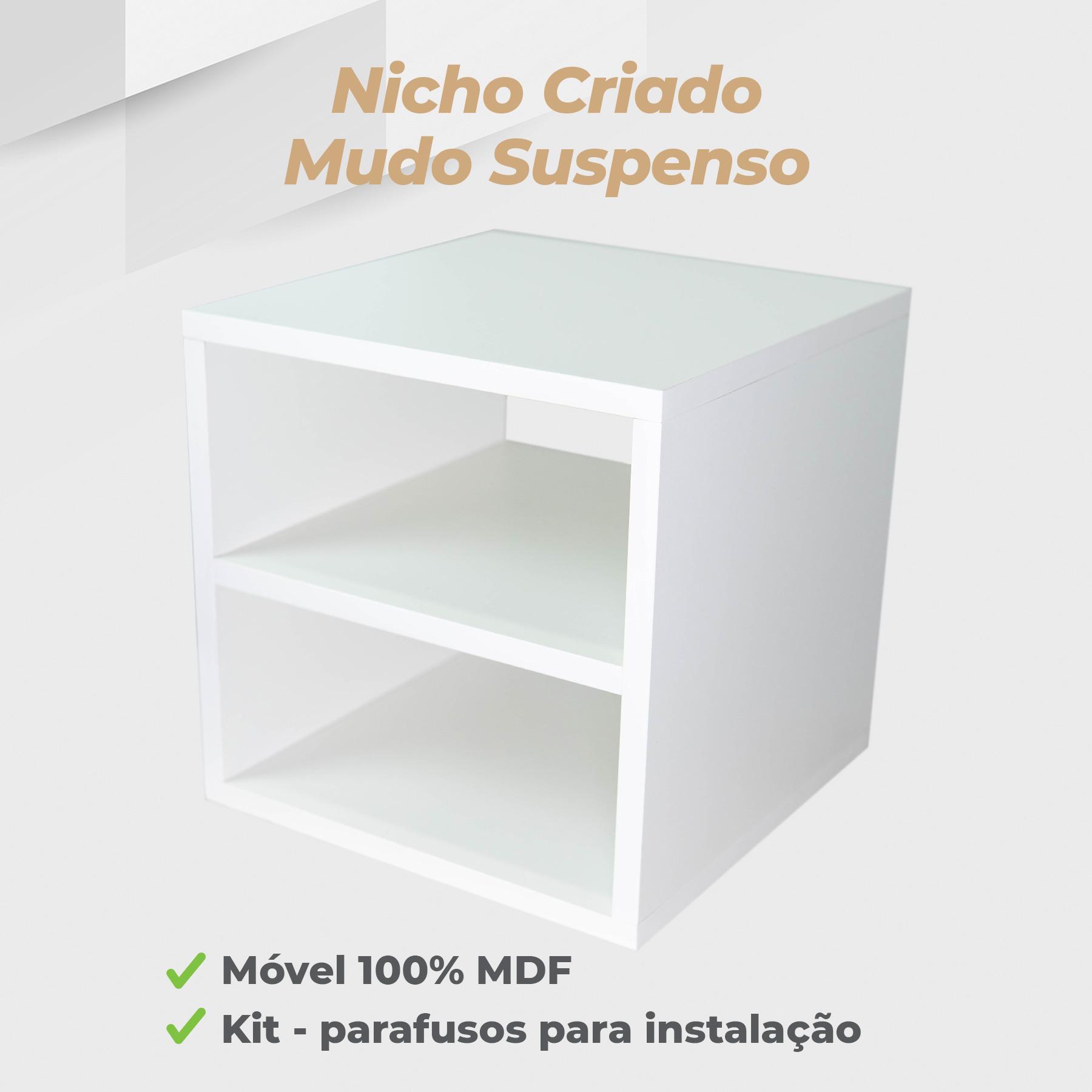 Nicho Criado Mudo Suspenso 30x30x30cm MDF Branco