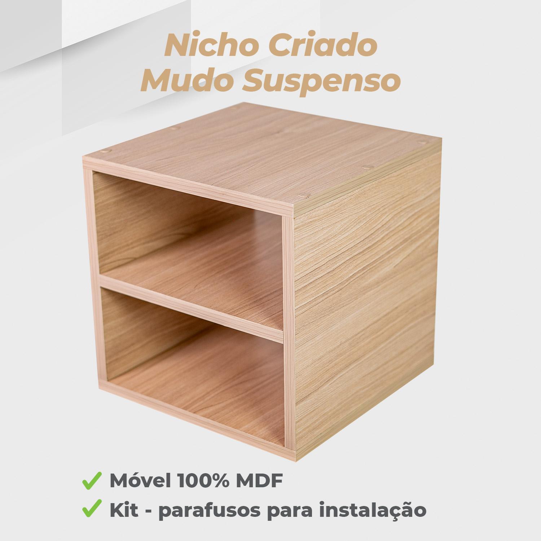 Nicho Criado Mudo Suspenso 30x30x30cm MDF Ciliegio