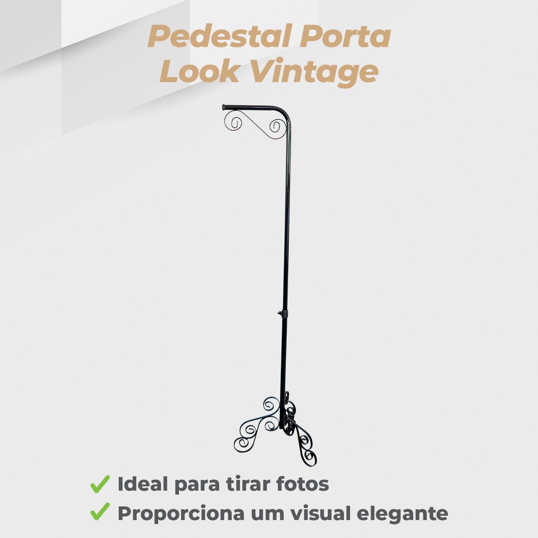 Pedestal Porta Look Vintage Preto