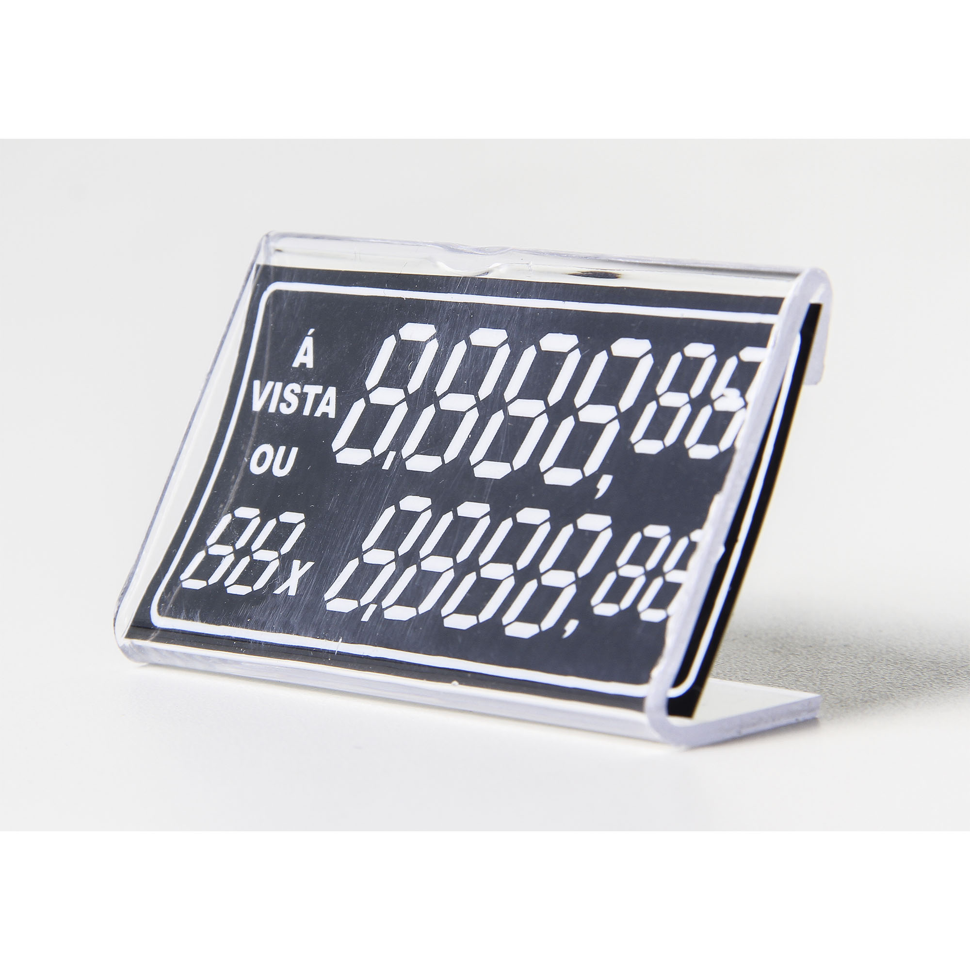 Porta Preço Acrílico com Etiqueta - Pacote 6 unidades