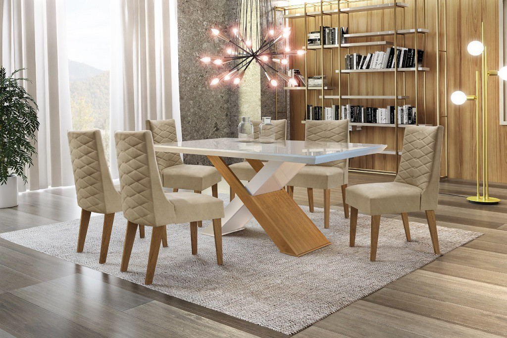 Conjunto de Mesa Com 6 Cadeiras Imperatriz