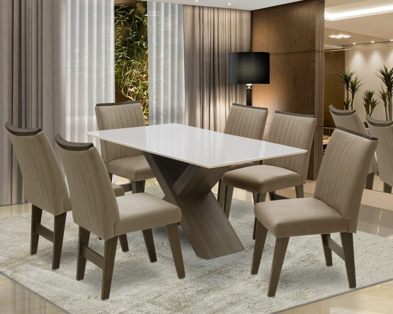 Conjunto de Mesa Dubai com 6 Cadeiras
