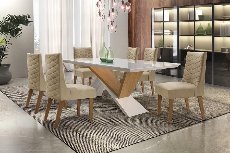 Conjunto de Mesa Petra 1.80 Com 6 Cadeiras Dafne