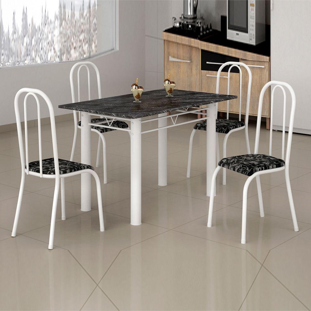 Conjunto de mesa c/ 4 Cadeiras Atalaia Tampo em Ardósia 1.20