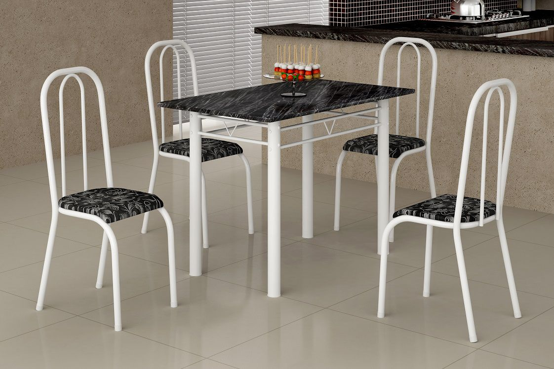 Mesa de Jantar 4 Cadeiras Guarujá 1.00 Tampo Ardósia
