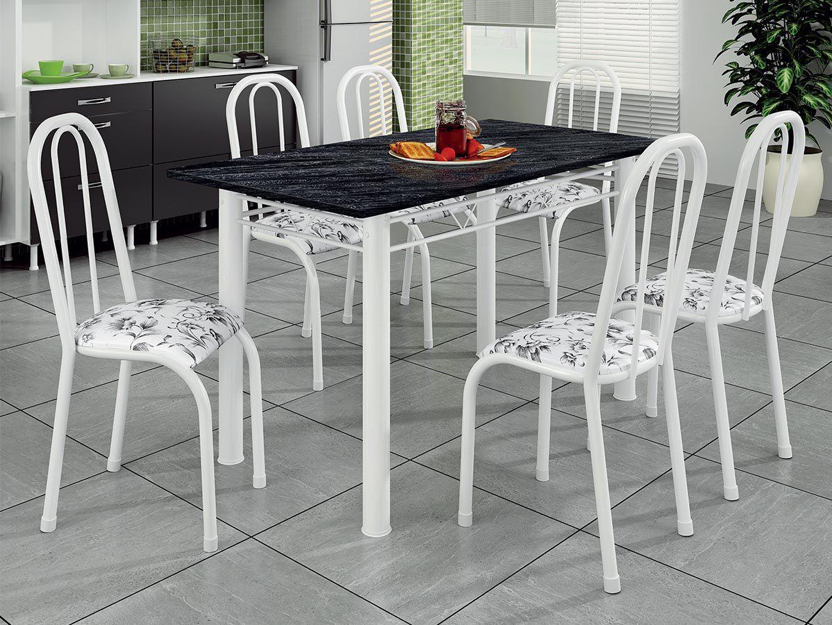 Mesa de Jantar 6 Cadeiras Atalaia 1.40 Tampo Ardósia
