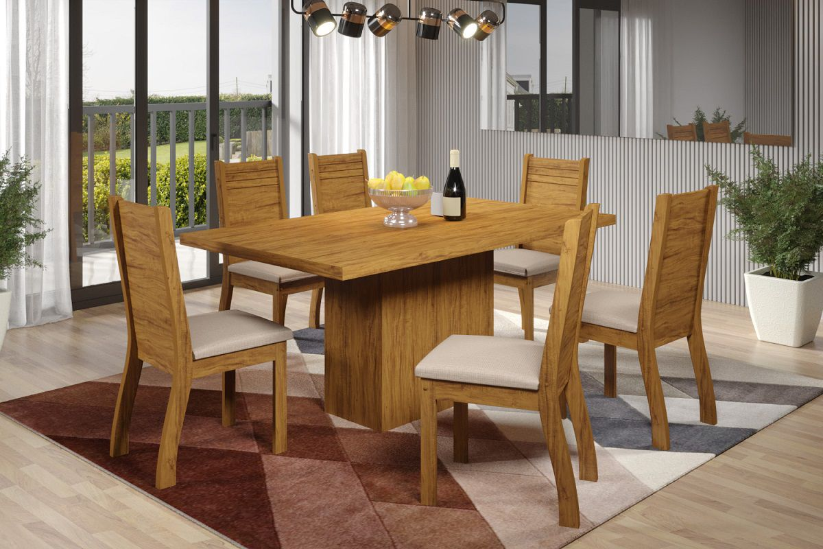 Mesa de Jantar Dani 6 Cadeiras