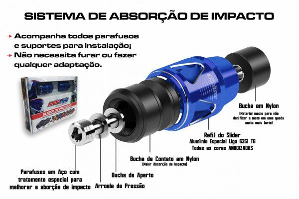 Linha Kawasaki / Yamaha / Honda / Suzuki / Triumph / Mv Agusta / KTM / Ducati / BMW / APRILIA - REFIL SLIDER PRO SERIES 10mm - unitário - Moto Style